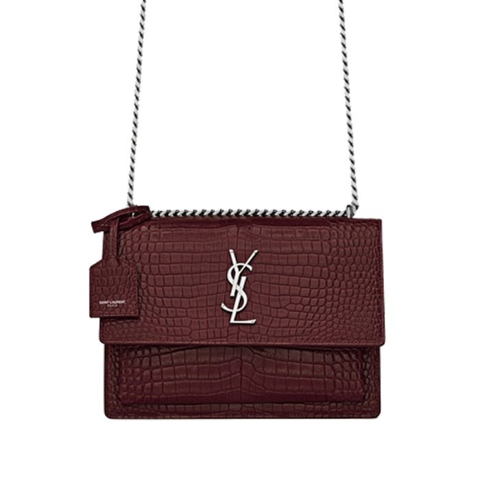유럽직배송 생로랑 선셋 미디엄 숄더백 YSL SUNSET MEDIUM IN CROCODILE EMBOSSED SHINY LEATHER 442906DND0N6475