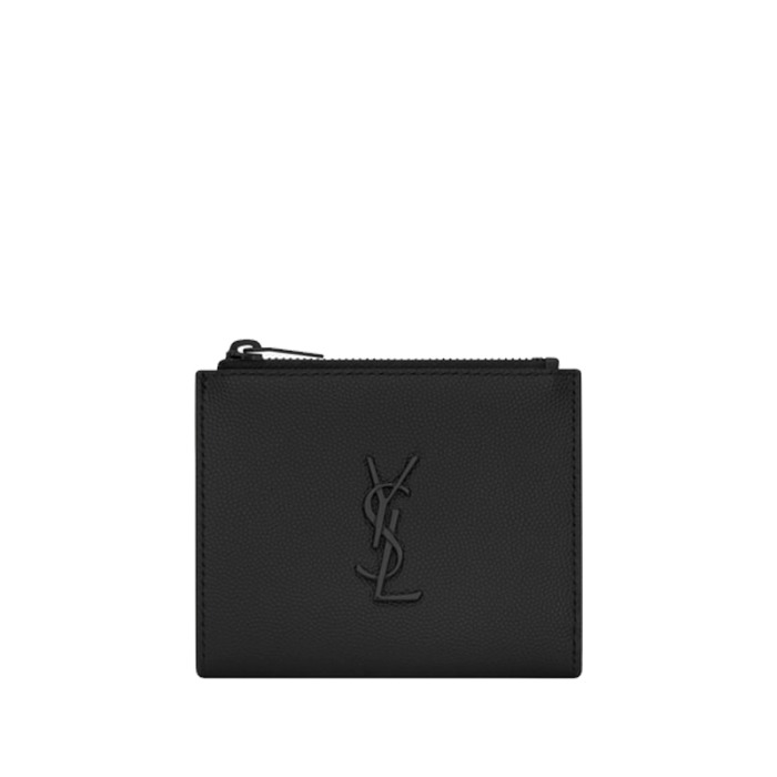 유럽직배송 생로랑 모노그램 지퍼 카드 지갑 YSL MONOGRAM ZIPPERED CARD CASE IN GRAIN DE POUDRE EMBOSSED LEATHER 575726BTY0U1000