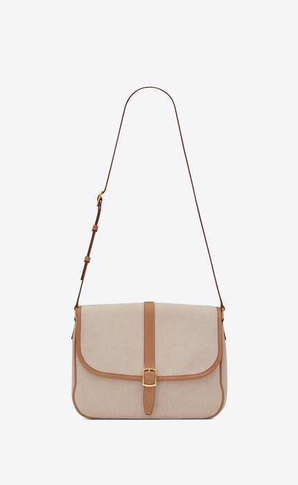 유럽직배송 입생로랑 SAINT LAURENT SORBONNE flap bag in cotton canvas and vintage leather 634791HZD7W9369