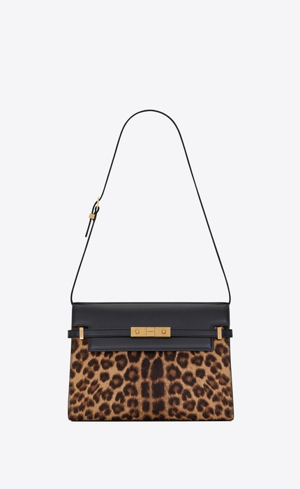 유럽직배송 입생로랑 SAINT LAURENT MANHATTAN shoulder bag in leopard-print pony-effect leather and smooth leather 5792711ZR2W2094