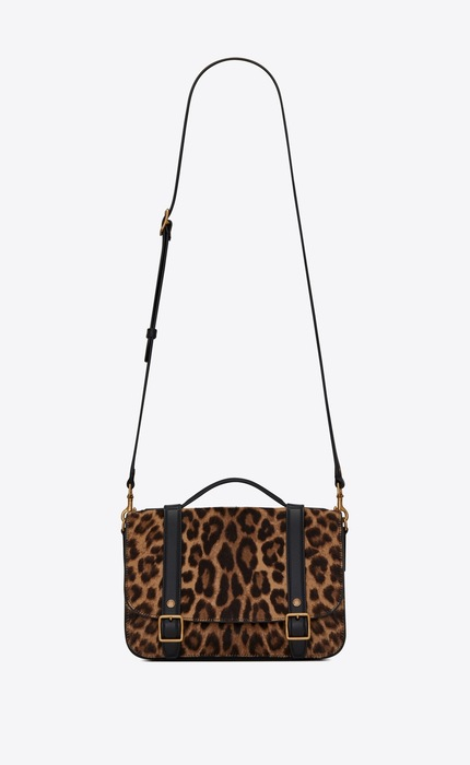 유럽직배송 입생로랑 SAINT LAURENT SCHOOLBAG mini satchel in leopard-print pony-effect leather  6054181ZR2W2094