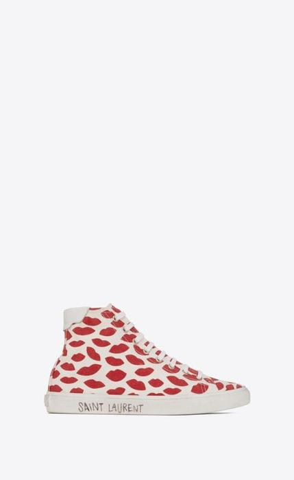 유럽직배송 입생로랑 SAINT LAURENT malibu mid-top sneakers in lip-print canvas and leather 6581962XM106132